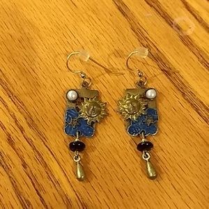 Silver Forrest Sun and Moon Earrings